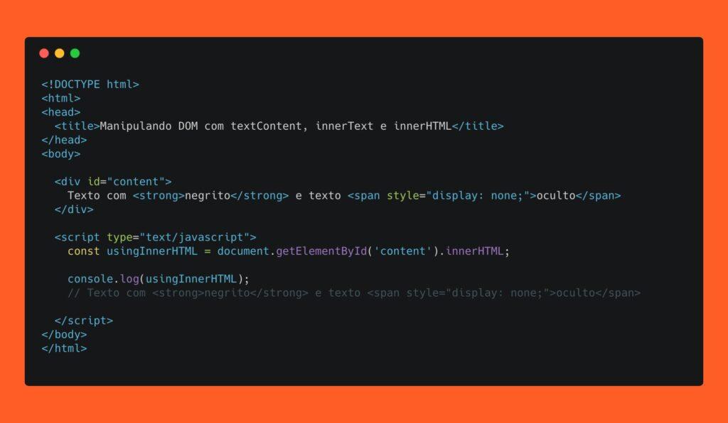 Lendo o DOM usando innerHTML