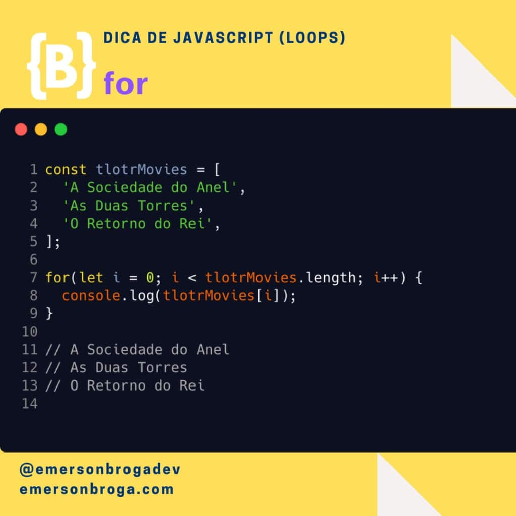 Dica de Javascript - for
