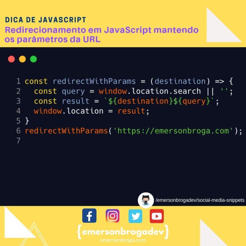 Redirecionamento em JavaScript mantendo os parâmetros da URL