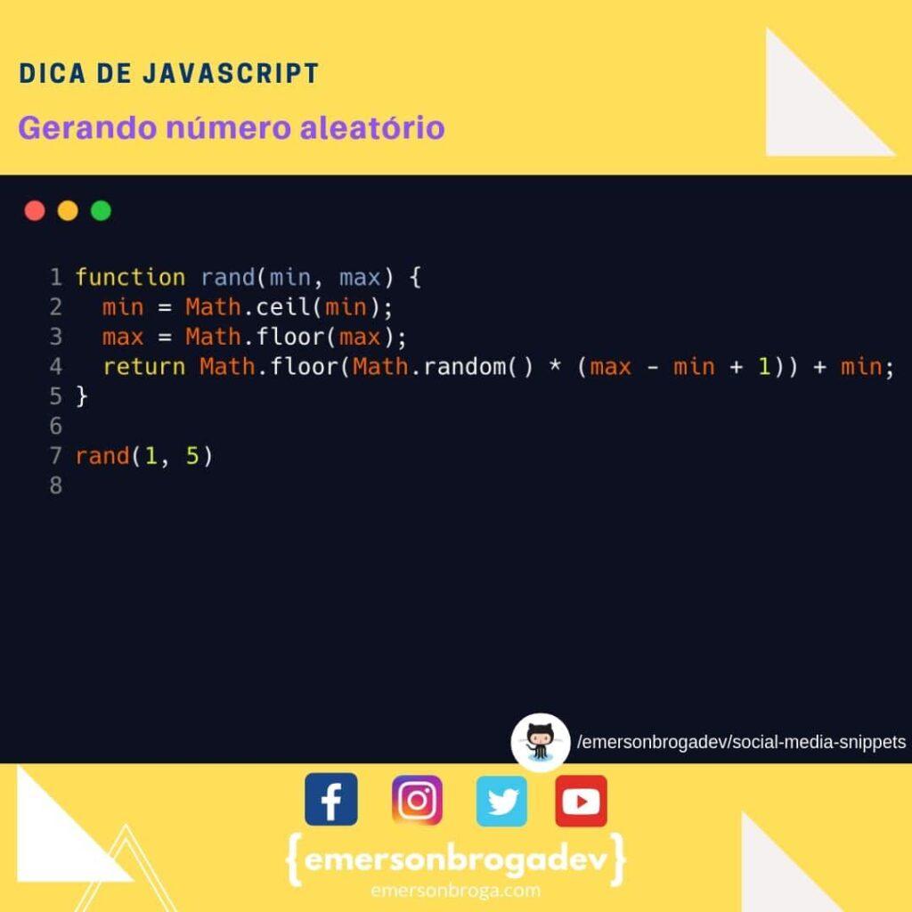 Gerando número aleatório com JavaScript