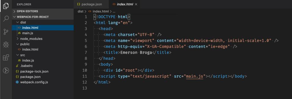 index.html e main.js na pasta dist